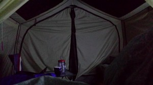 Our tent at night